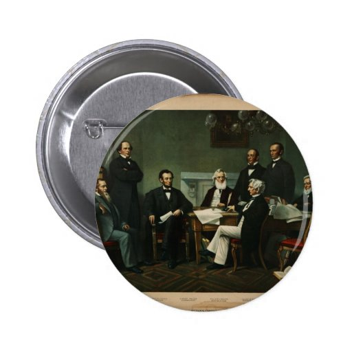 [Print of Lincoln's cabinet based on Carpenter pai 2 Inch Round Button
