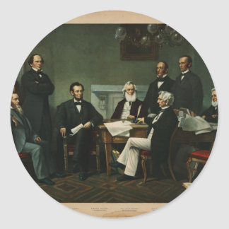 [Print of Lincoln's cabinet based on Carpenter pai Classic Round Sticker