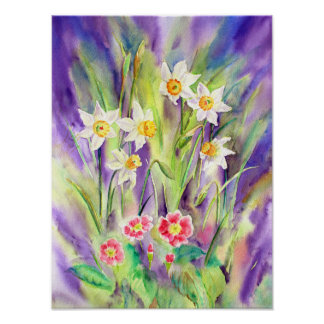 Print of watercolor painting Daffodil and Primula
