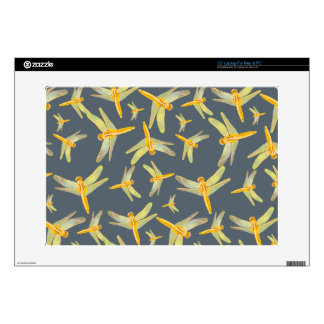 Print of yellow and gold dragonflies decal for laptop