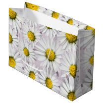 Print of yellow and white daisies large gift bag
