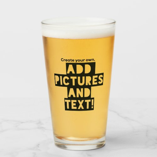 Print on a BEER GLASS _ Upload Pic add Text