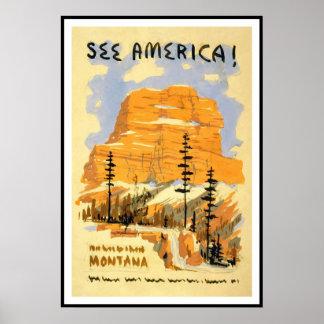 Print Retro Vintage Image Travel America