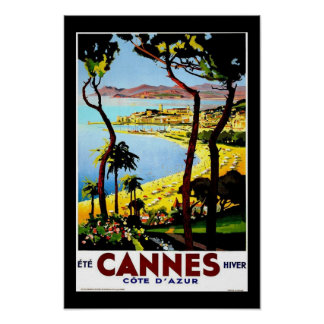 Print Retro Vintage Image Travel Cannes