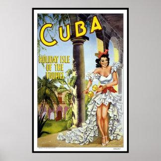 Print Retro Vintage Image Travel Cuba
