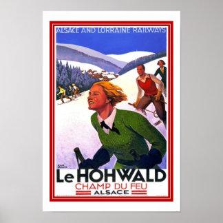 Print Retro Vintage Image Travel LeHohwald Ski