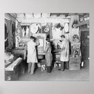 Print Shop, 1921. Vintage Photo