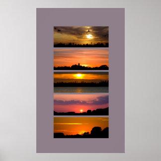 Print - Sunset Strips purple pink orange yellow