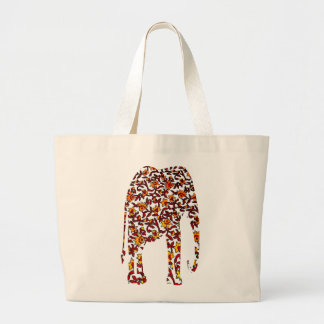Print Textile w/ Red and Yellow Flowers Elephant Jumbo Tote Bag