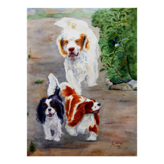 print - Travellers - Clumber Spaniel and Cavaliers