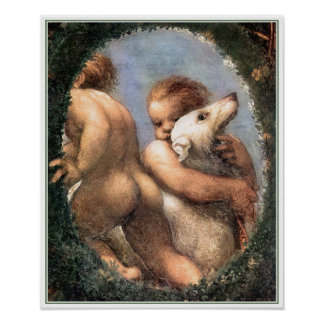 Print: Two Cherubs, One with a Dog Poster