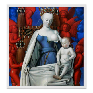 Print: Virgin and Child surrounded by Angels Poster