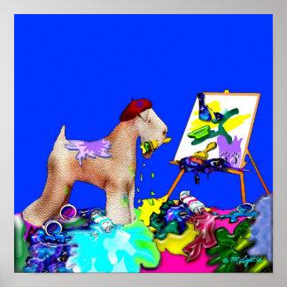 Print: Wheaten Terrier Artist  (Blue Bkgd)