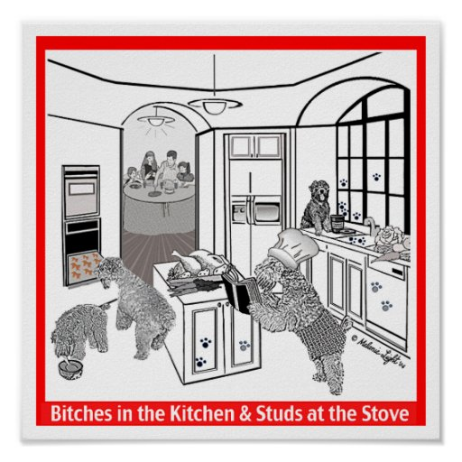 """Print:  Wheaten Terrier: """"Bitches in the Kitchen"""" Poster"""