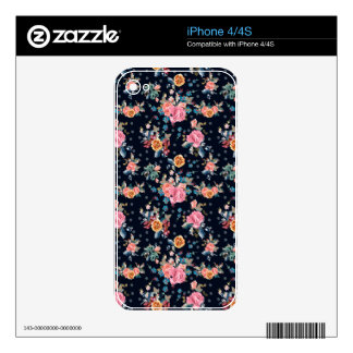 Print with roses in vintage pretty style iPhone 4 decal