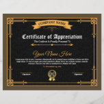 "Printable Certificate Of Appreciation<br><div class=""desc"">Printable Certificate of appreciation. Easy-to-customize Certificate Layout for any occasion</div>"