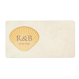Printable Monogram Wedding Beach Shells Sticker Labels