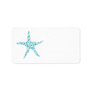 Printable Turquoise Aqua Starfish Address Labels