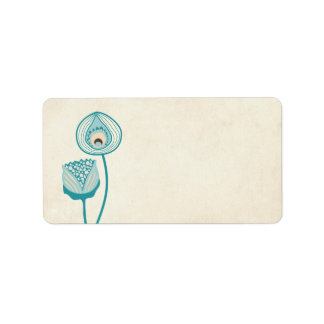 Printable Turquoise Funky Flowers Address Labels