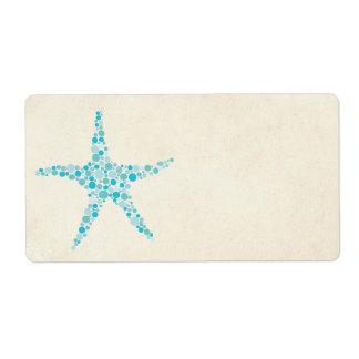 Printable Wedding Turquoise Aqua Starfish Sticker Personalized Shipping Labels