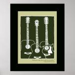 printed acoustic guitars poster