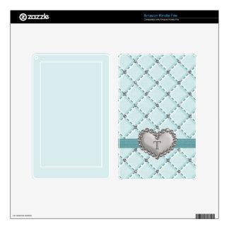 PRINTED Aqua Quilted Jeweled Heart Kindle Fire Ski Kindle Fire Skin