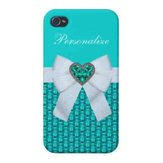Printed Aquamarine Heart Jewel & Bow Cases For iPhone 4