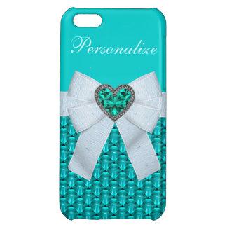 Printed Aquamarine Heart Jewel & Bow iPhone 5C Cases