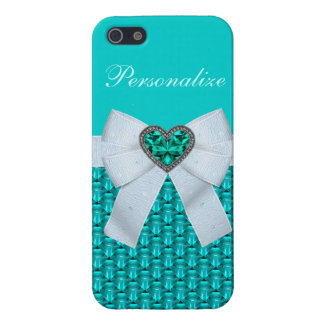 Printed Aquamarine Heart Jewel & Bow Cover For iPhone 5