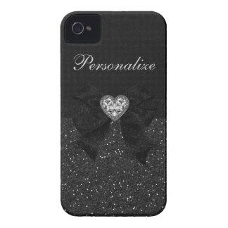 Printed Black Glitter, Diamond Heart & Bow iPhone 4 Case