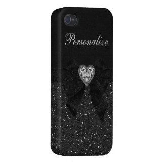 Printed Black Glitter, Diamond Heart & Bow iPhone 4 Cover