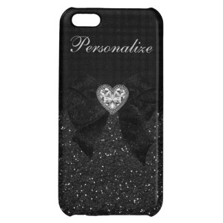Printed Black Glitter, Diamond Heart & Bow Cover For iPhone 5C