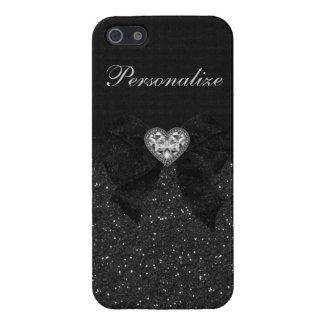 Printed Black Glitter, Diamond Heart & Bow iPhone SE/5/5s Case