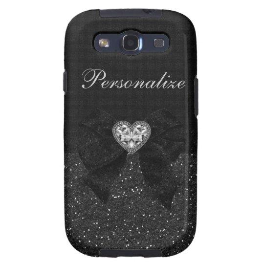 Printed Black Glitter, Diamond Heart & Bow Samsung Galaxy SIII Cover