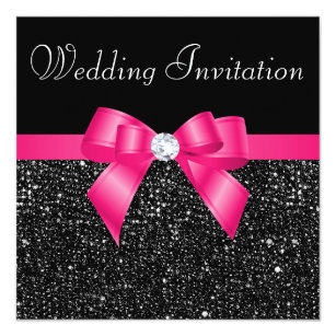 Printed Black Sequins And Hot Pink Bow Wedding Invitation