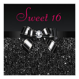 Printed Black Sequins Bow Diamond Pink Sweet 16 Personalized Announcements