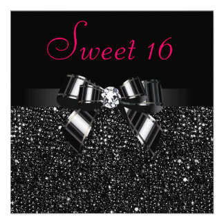Printed Black Sequins Bow Diamond Pink Sweet 16 Announcement