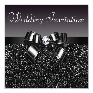 Printed Black Sequins, Bow & Diamond Wedding Card