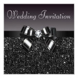 "Printed Black Sequins, Bow & Diamond Wedding 5.25"" Square Invitation Card"