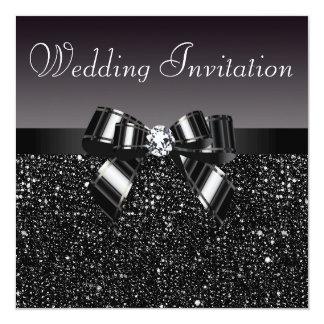 Printed Black Sequins, Bow & Diamond Wedding 5.25x5.25 Square Paper Invitation Card