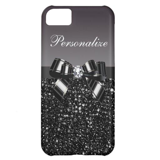 Printed Black & White Sequins, Bow & Diamond iPhone 5C Cases