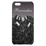 Printed Black & White Sequins, Bow & Diamond Cover For iPhone 5C