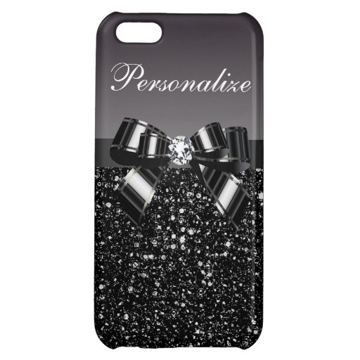 Printed Black & White Sequins, Bow & Diamond iPhone 5C Cover