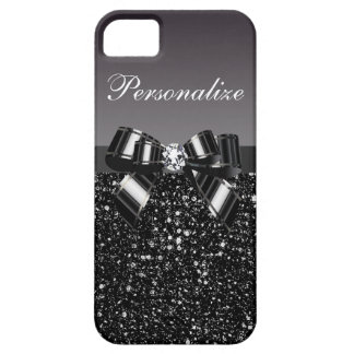 Printed Black & White Sequins, Bow & Diamond iPhone SE/5/5s Case