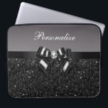 "Printed Black & White Sequins, Bow & Diamond Laptop Sleeve<br><div class=""desc"">Elegant personalized girly black and white case with a beautiful printed black and silver sequins pattern, a cute printed black and silver bow and ribbon and pretty printed diamond bling jewel. Personalize it with your own name. A trendy, glamorous gift for her - women and girls will love this fashionable...</div>"