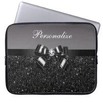 Printed Black & White Sequins, Bow & Diamond Laptop Sleeve