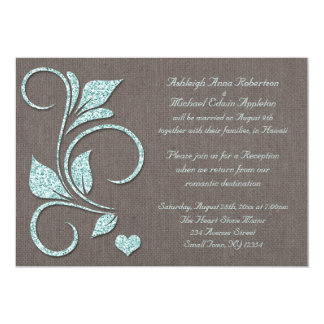 Printed Blue Glitter Rustic Reception ONLY Card