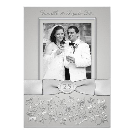 PRINTED BOW 25th Wedding Anniversary Photo Invite