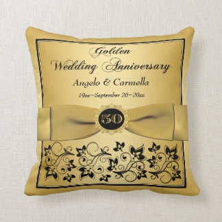 PRINTED BOW 50th Anniversary Double PHOTO Pillow