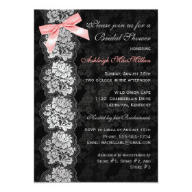PRINTED BOW Black Floral Lace Bridal Shower Invite 5